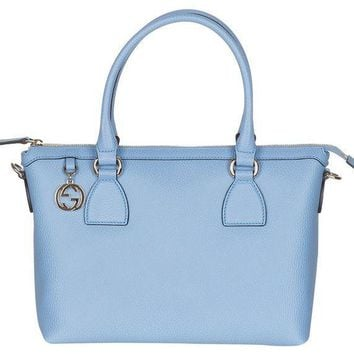CREYIX5 Gucci Mineral Blue Calf Leather GG Pendant Hobo Shoulder Bag