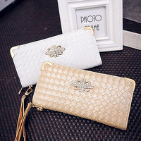 Ladies Wallet Korean Rhinestone Bags Stylish Zippers Purse [6048275137]