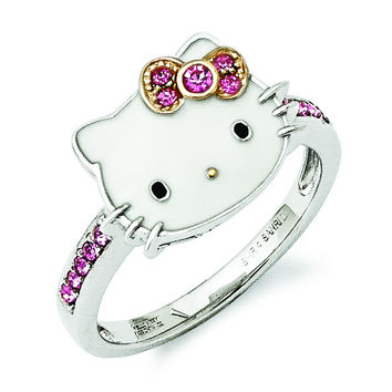 Sterling Silver Hello Kitty Enamel/Pink Crystal w/Gold-tone Accent Ring