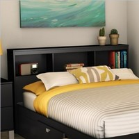 South Shore Spark Collection Full Bookcase Headboard, Pure Black