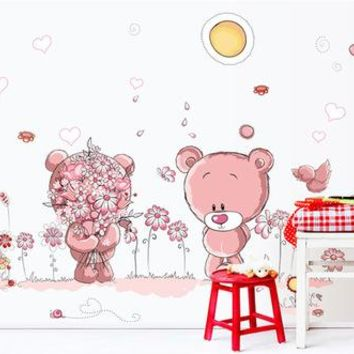 Cute Pink Bear Wall Sticker for Kids Room Home Decor Nursery Wall Decal Children Poster Baby House Mural DIY ay7227