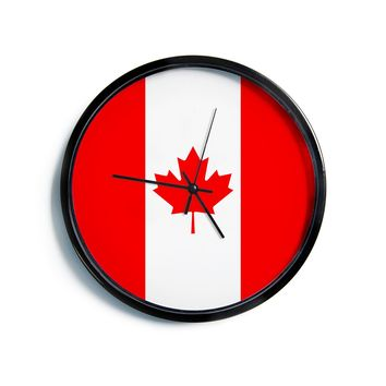 """Bruce Stanfield """"Flag of Canada"""" Red White Modern Wall Clock"""