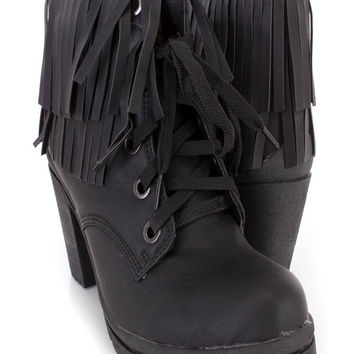Black Lace Up Fringe Trimmed Ankle Booties Nubuck