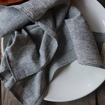 cloth napkins. dark gray pinstripes. set of 2 or 4. organic cotton + hemp. wabi sabi linen. zero waste kitchen. modern cloth napkins