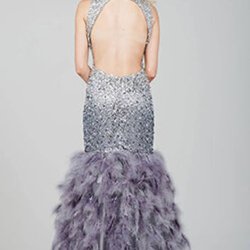 Silver Feather Mermaid Feathered Dress 32427