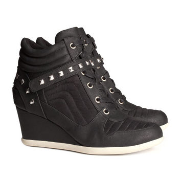 H&M - Wedge-heel Sneakers - Black - Ladies