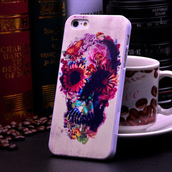 Cute Punk Skull Flower Hard Case Phone Protective Cover for iPhone 5 5s