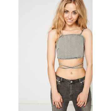 Grey Crop Adjustable Denim Shirt