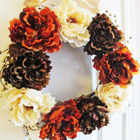 Fall Orange Wreath Peonies Wreath Orange Fall Decor Thanksgiving Centerpiece Thanksgiving Decor Front Entryway Gold Berries