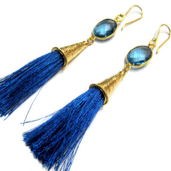 24kt. Gold Plated Bezel Connector Tassle Earring pair , Chekker Cut Faceted Blue Quartz Stone Link Blue silk thread gold cone dangle earring