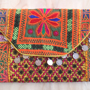 Bleu Belle Bohemian Vintage Banjara Bag Tribal Ethnic embroidery purse/clutch/Ipad case