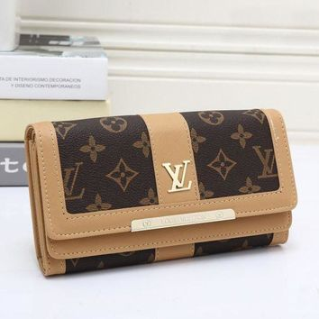 LV Louis Vuitton Trending Women Leather Buckle Wallet Purse Beige I