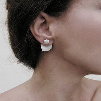 Geometric ear jackets, sterling silver, front and back earrings, minimalist design, everyday jewelry