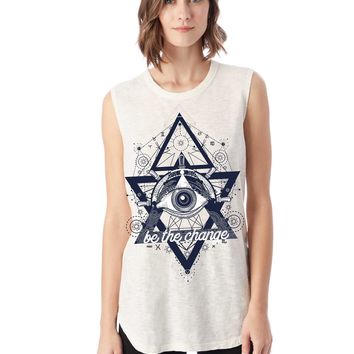 Be the Change Illumaniti Inside Out Muscle Tee   Slub Material   Blue Print   White of Pink Tees