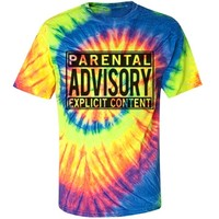 Tie Dye Parental Advisory: Custom Unisex Gildan Tie-Dye Multi-Color Spiral T-Shirt - Customized Girl