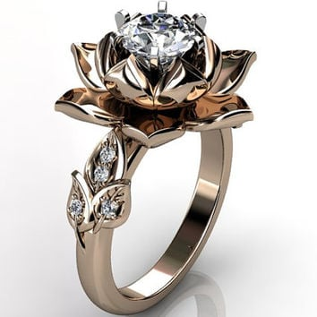 14k rose gold diamond unusual unique lotus flower engagement ring, bridal ring, wedding ring ER-1076-3