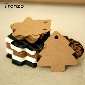 Tronzo 50Pcs DIY Kraft Christmas Tree Tags Xmas Gift Card Party Hanging Supplies Wedding Christmas Decoration For Home 5.5*5.4CM