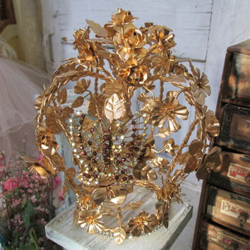 Large gold metal tole crown rose covered French inspired embellished for statues or home decor Anita Spero