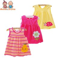 Free Shipping 4pcs/lot Baby girl Dresses Girls Infant Cotton Sleeveless Dress Summer baby dress Printed +Embroideryatst0001