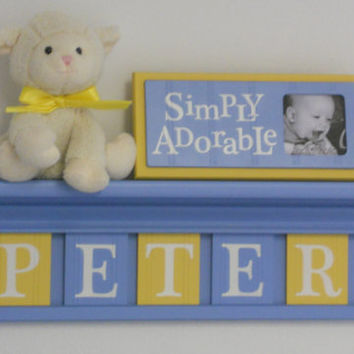 "Baby Blue and Yellow - Baby Boy Nursery Decorations - Baby Name Sign Personalized for PETER - 24"" Shelf 5 Wooden Letter Tiles"