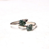 Rough watermelon tourmaline ring in sterling silver - solitaire ring, prong set rough, green tourmaline
