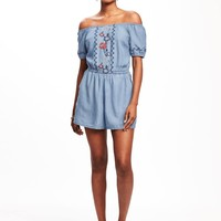 Off-the-Shoulder Tencel® Romper for Women | Old Navy