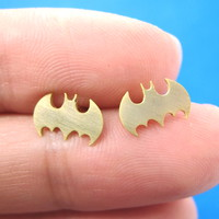 Bat Silhouette Symbol Batman Logo Stud Earrings in Gold | Allergy Free
