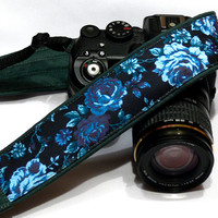 Roses Camera Strap, Floral Camera Strap, Black Blue Green Camera Strap, Nikon, Canon Camera Strap, Women Accessories