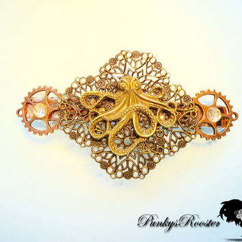 Kraken Octopus Barrette Steampunk Hair Clip Mixed Metal Colored Victorian Style Hair Jewelry Large Barrette Non Traditional Bride
