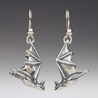 Silver Soaring Bat Earrings