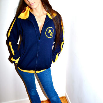 Make an Offer 1970s TRACK JACKET from SPAIN pd Polideportivo Juega Fuerza Navy Blue and Yellow Mens Medium M
