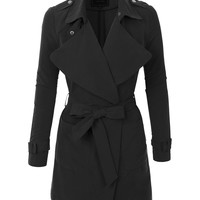 LE3NO Womens Faux Suede Open Long Sleeve Jacket with Belt