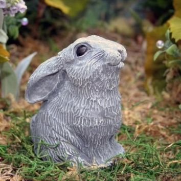Moon Gazing Hare - Miniature Concrete Bunny Outdoor Garden Decor