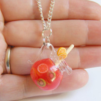 Jug of Sangria Miniature Pendant - Miniature Food Jewelry