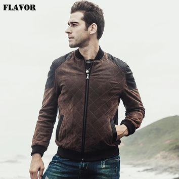 2017 New Men's Retro Real leather Bomber jacket