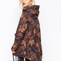 adidas Parka Coat In All Over Camo Leaf Print