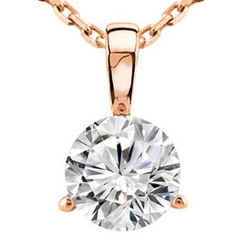 0.5 Carat Round Diamond 3 Prong Solitaire Pendant Necklace