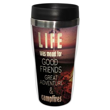 Campfires Artful Travel Mug - Premium 16 oz Stainless Lined w/ No Spill Lid