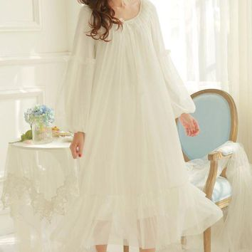 MDIGU3S Soft Modal Nightgown women's winter Princess Lace Sexy Nightgown ladies Pajamas long sleeve nightgown pyjamas women