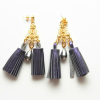 CHANDELIER 2 / Crystal & Leather tassel earrings - OOAK - Ready to Ship