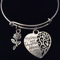 Mother and Daughter Forever Filigree Heart Expandable Silver Charm Bracelet Adjustable Bangle Gift