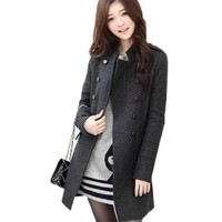 Womens Slim Fit Trench Coat Mid-long Outwear