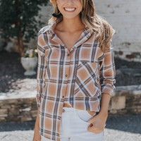 Plaid Button Down Top, Camel