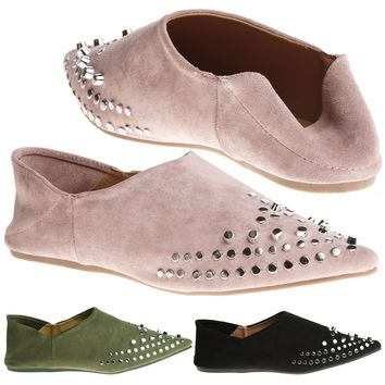Alvy Womens Flats Low Heel Slip On Studded Loafers Ladies Mules Pointed Toe Size