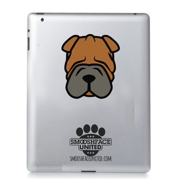 Shar Pei decal - dog car vinyl sticker - Shar Pei wrinkle love - Shar Pei sticker decal