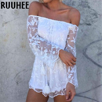 Solid Sexy Women Rompers Casual Fashion Overalls Regular  Lace Hollow Out Long Sleeve Women's Playsuits 2016 New Spring Summer