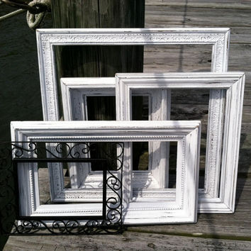 White Shabby Chic Picture Frame Set Shabby Chic Distressed Picture Frame Set Gallery Wall Wedding Decor Baby Nursery Decor