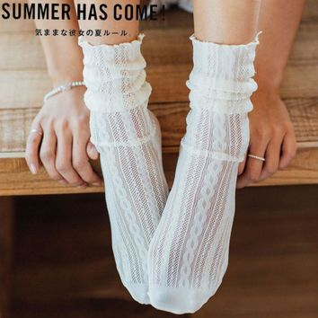New Fashion Vintage Lace High Elastic Women Sexy Socks Useful Sweet Cute Japaness Mesh Punk Gothic Ankle Sock  2018