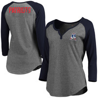 Women's New England Patriots Pro Line Gray Philips Henley 3/4-Sleeve T-Shirt
