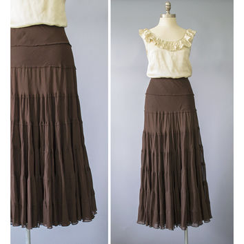 SALE / 90s Maxi Skirt / 1990s Brown Silk Chiffon Bohemian Broomstick Skirt / Soft Grunge Skirt / Jones New York Boho Long Tiered Skirt M